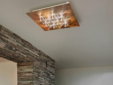"""Lampada a soffitto """"Cristalli"""" disponibile nei colori bianco, cromo, foglia argento, foglia oro, nero, corten, grigio tortora, inox, ossidato; diffusore metacrilato opalino; dimmerabile"""