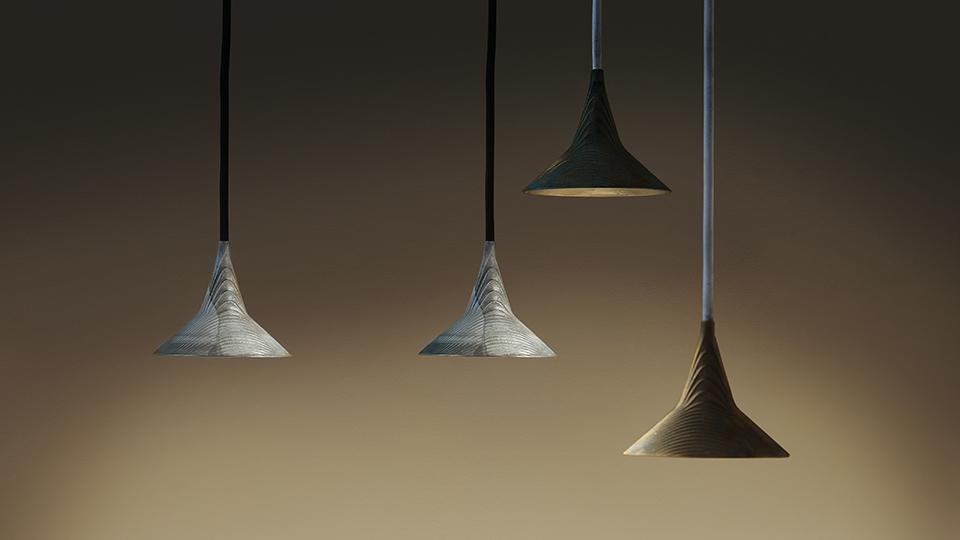 Coppia di lampade in vetro di murano e ottone